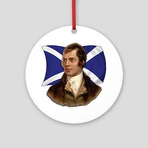 Robert Burns with Scottish Flag Ornament (Round)