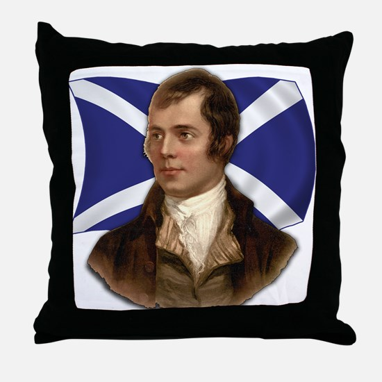 Robert Burns with Scottish Flag Throw Pillow