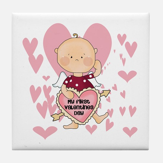 Angel Baby Valentine Tile Coaster