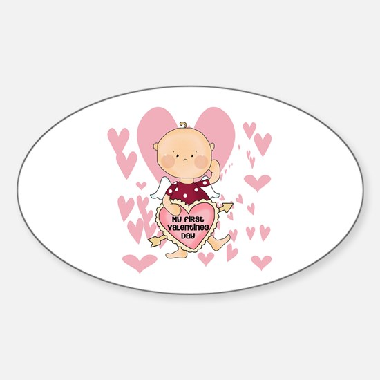 Angel Baby Valentine Oval Decal