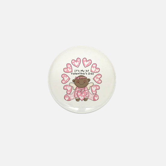 African American 1st Valentines Mini Button