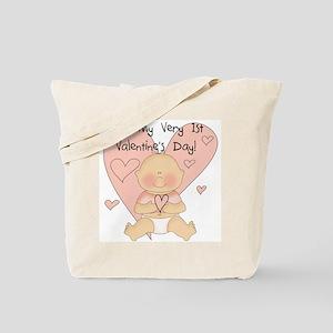 Girl 1st Valentine's Day Tote Bag