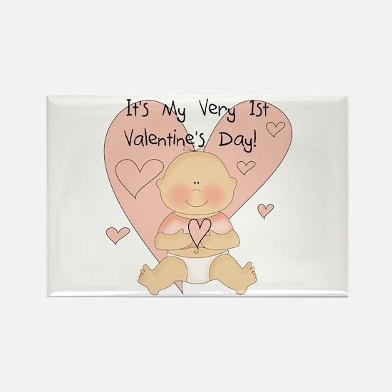 Girl 1st Valentine's Day Rectangle Magnet (10 pack