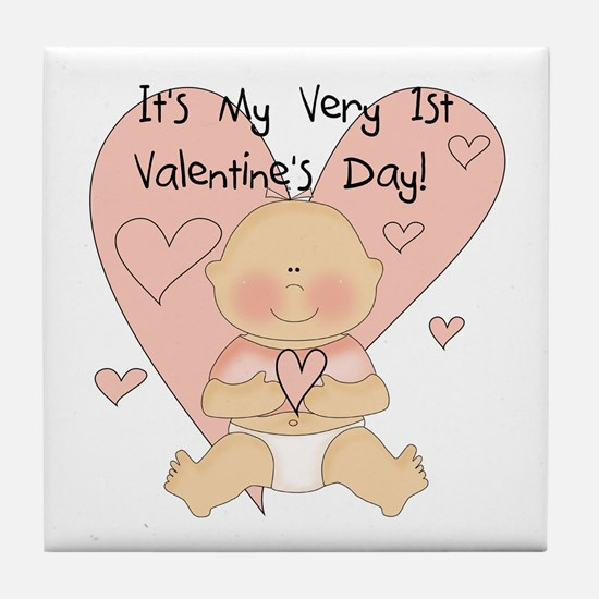 Girl 1st Valentine's Day Tile Coaster