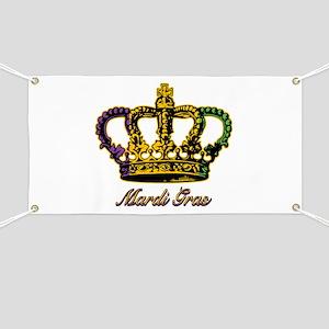 Mardi Gras Flag Crown Banner