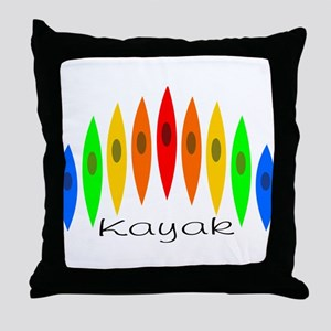 Rainbow of Kayaks Throw Pillow