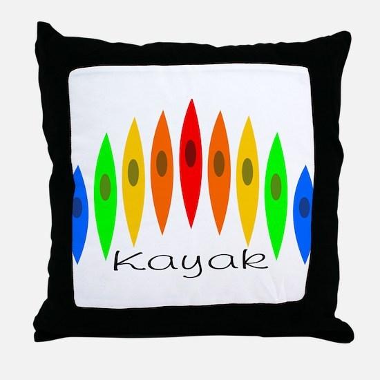 Rainbow of Kayaks Throw Pillow