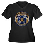 USS CROMWELL Women's Plus Size V-Neck Dark T-Shirt