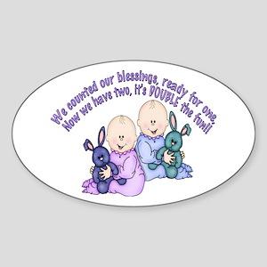 Double Fun Twins Oval Sticker