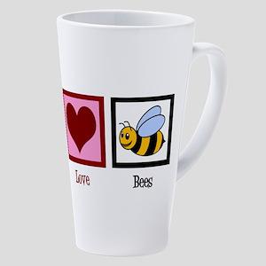 Peace Love Bees 17 oz Latte Mug