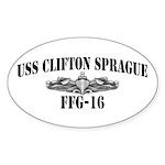 USS CLIFTON SPRAGUE Oval Sticker (50 pk)