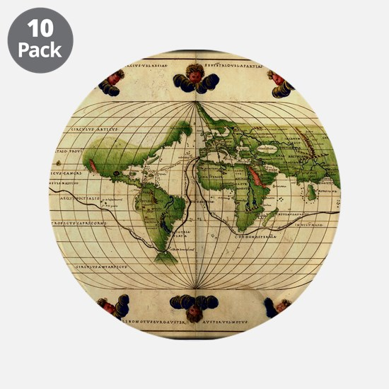 """1544 World Map"" 3.5"" Button (10 pack)"