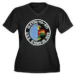 USS EVANS Women's Plus Size V-Neck Dark T-Shirt
