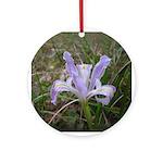 Purple Iris Flower Keepsake Ornament (Round)