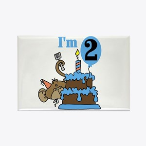 Monkey with Cake 2nd Birthday Rectangle Magnet