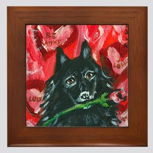 Schipperke Valentine Rose Framed Tile
