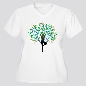 YOGA TREE POSE Women's Plus Size V-Neck T-Shirt