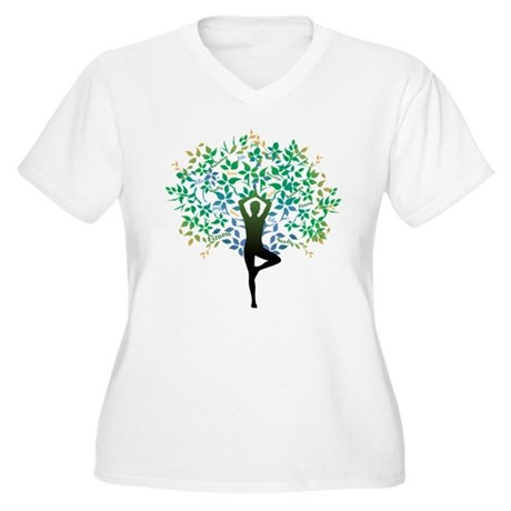 YOGA TREE POSE Women's Plus Size V-Neck T-Shirt