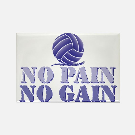 No Pain No Gain Volleyball Rectangle Magnet