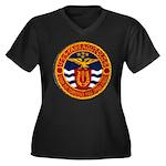 USS FARRAGUT Women's Plus Size V-Neck Dark T-Shirt