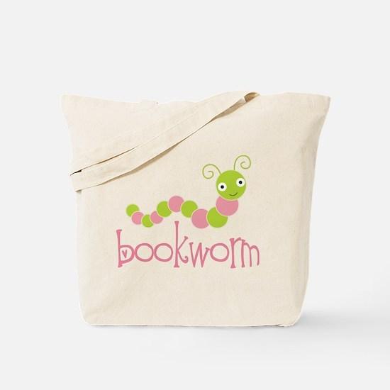 Cute Pink Bookworm Tote Bag