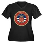 USS FARRAGUT Women's Plus Size V-Neck Dark T-Shirt