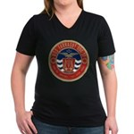 USS FARRAGUT Women's V-Neck Dark T-Shirt