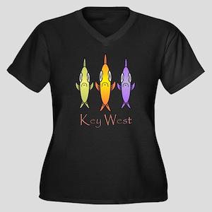 Key West FishWomen's Plus Size V-Neck Dark T-Shirt