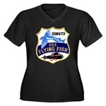 USS FLYING F Women's Plus Size V-Neck Dark T-Shirt