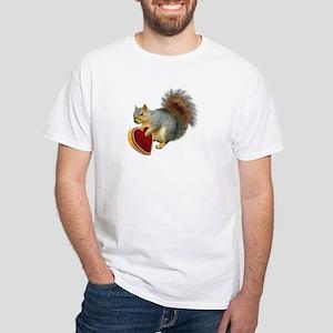 Squirrel Valentine White T-Shirt
