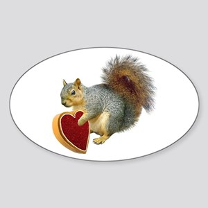 Squirrel Valentine Oval Sticker