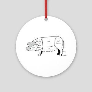 Pork Diagram Ornament (Round)