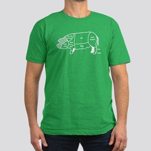 Pork Diagram Men's Fitted T-Shirt (dark)