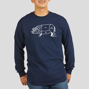 Pork Diagram Long Sleeve Dark T-Shirt