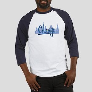 Chicago Skyline and Dark Blue Script Baseball Jers