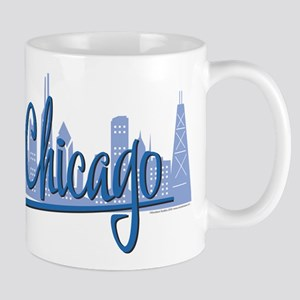 Chicago Skyline and Dark Blue Script Mug