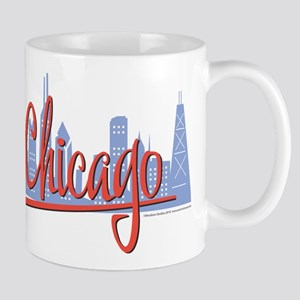 Chicago Skyline and Red Script Mug