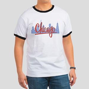 Chicago Red Script in Skyline Ringer T