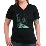 New York Souvenir Women's V-Neck Dark T-Shirt