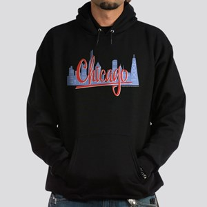 Chicago Red Script in Skyline Hoodie (dark)