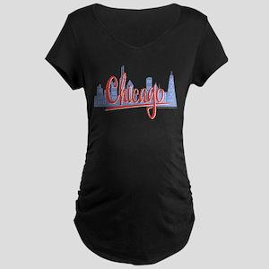 Chicago Red Script in Skyline Maternity Dark T-Shi