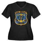 USS HARTLEY Women's Plus Size V-Neck Dark T-Shirt