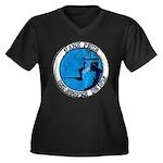 USS HOOPER Women's Plus Size V-Neck Dark T-Shirt