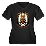 USS JOHN A. Women's Plus Size V-Neck Dark T-Shirt