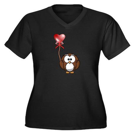 Valentine Owl Women's Plus Size V-Neck Dark T-Shir