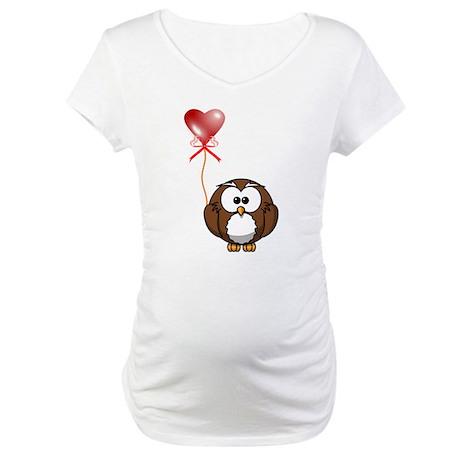 Valentine Owl Maternity T-Shirt