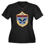USS JOHN R. Women's Plus Size V-Neck Dark T-Shirt