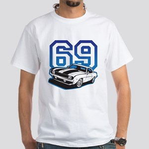 '69 Camaro in Blue White T-Shirt