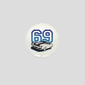 '69 Camaro in Blue Mini Button