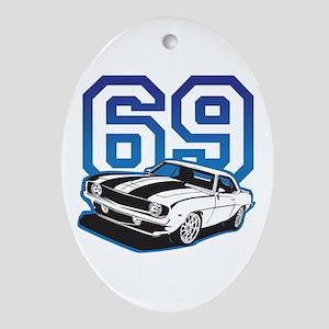 '69 Camaro in Blue Oval Ornament